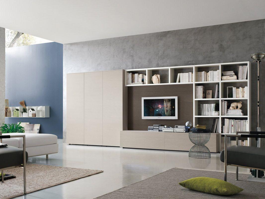 Composizioni soggiorno design ~ Mobile soggiorno pamela colore bianco larice mondo convenienza