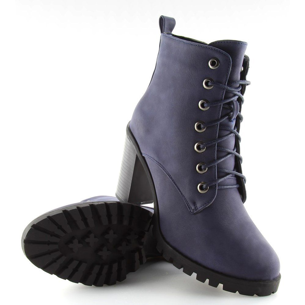 Botki Na Obcasie Granatowe W331 Blue Shoes Boots Timberland Boots