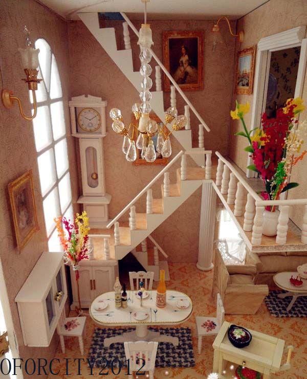 diy wooden doll house dolls house miniatures furniture led light rh pinterest com
