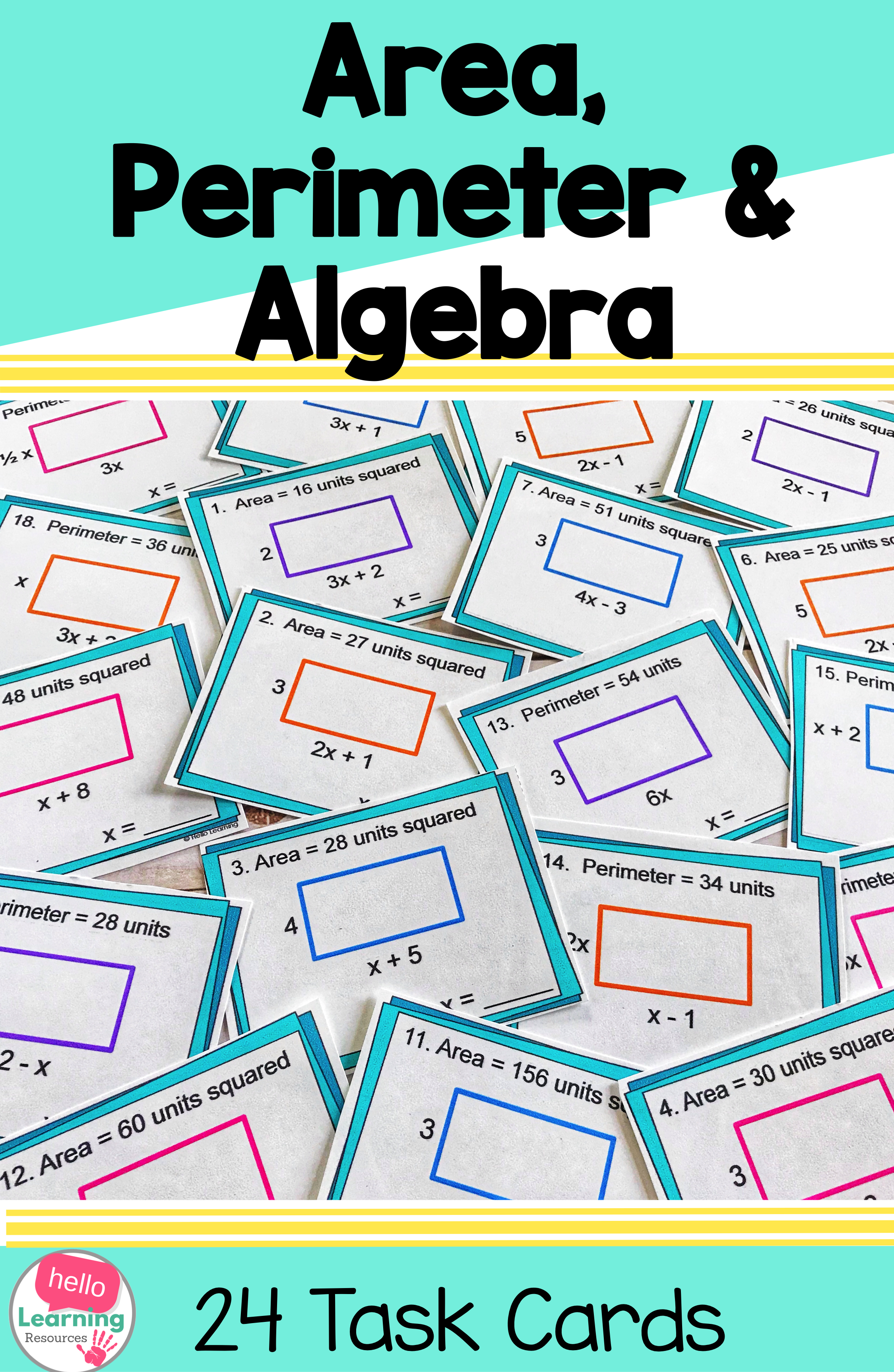 Area And Perimeter With Algebra Task Cards