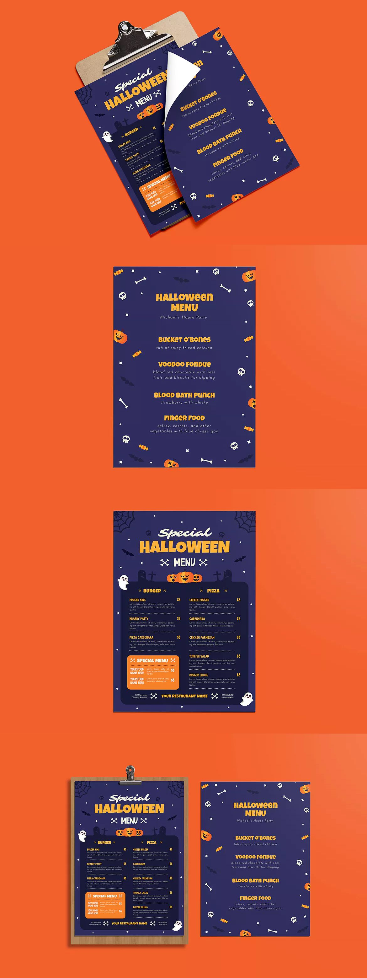 Special Halloween Menus Template AI PSD A4 unlimited s