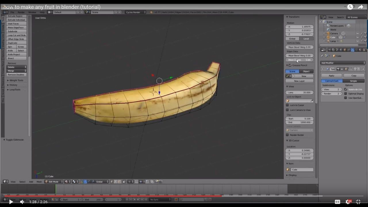how to make any fruit in blender (tutorial) | Texture Mapping