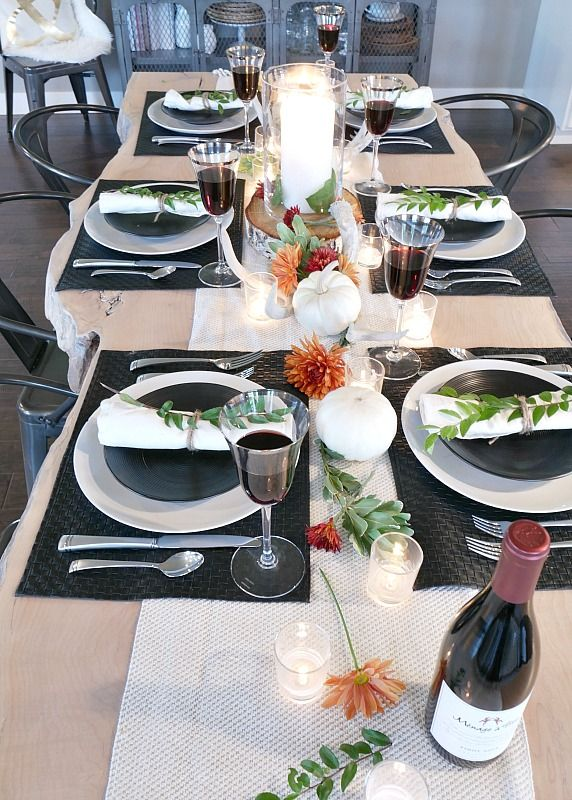 black-and-white-rustic-modern-fall-table-setting-on-live-edge-table & Black and White Rustic Modern Fall Table Setting | Autumn table ...