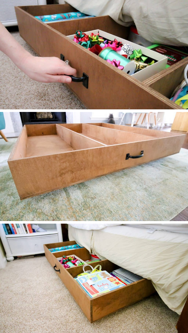 Free Project Plan Under Bed Rolling Storage Diy Storage Bed