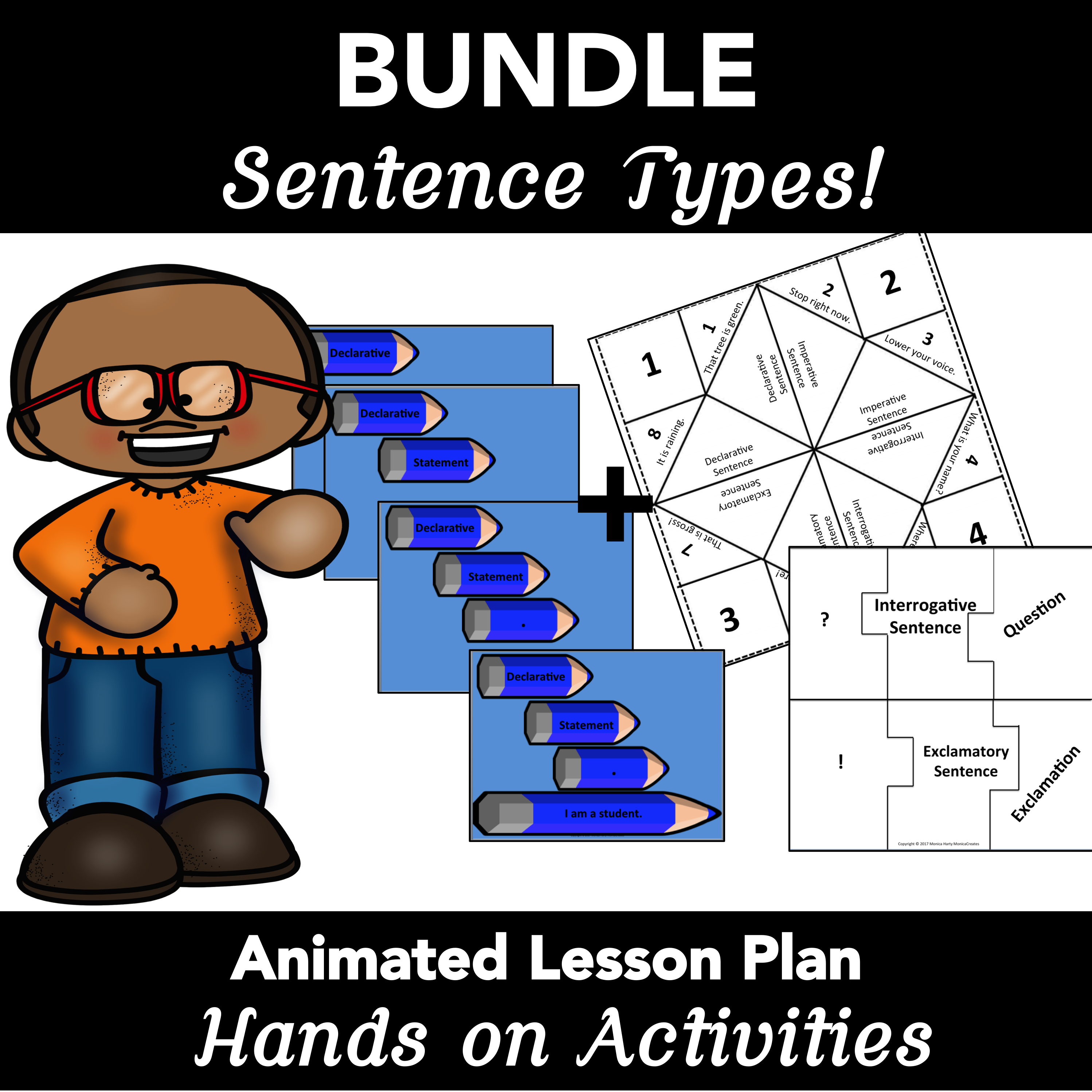 Sentence Types: Animated PowerPoint Lesson Plan, Activities BUNDLE
