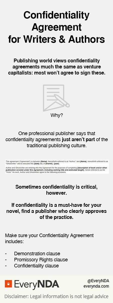 Writers And Authors May Need Confidentiality Agreements Click To