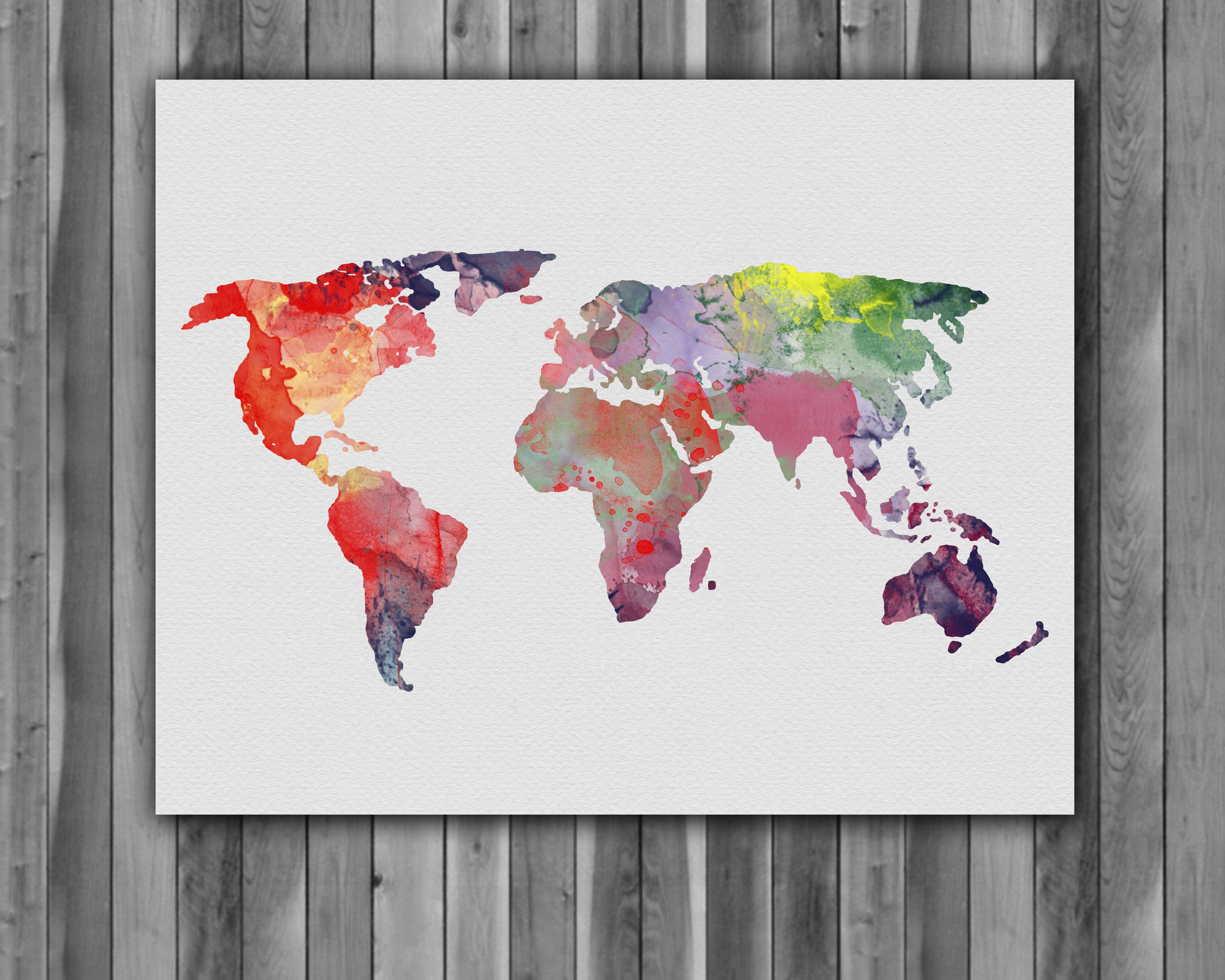World Map Home Decor World Map Poster Watercolor Painting Wall Art Print Instant