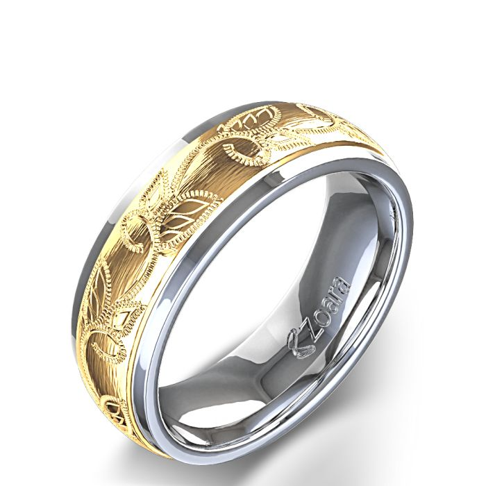 Unique Design Leaf Carved Mens Wedding Ring In 14k Two Shades White Gold