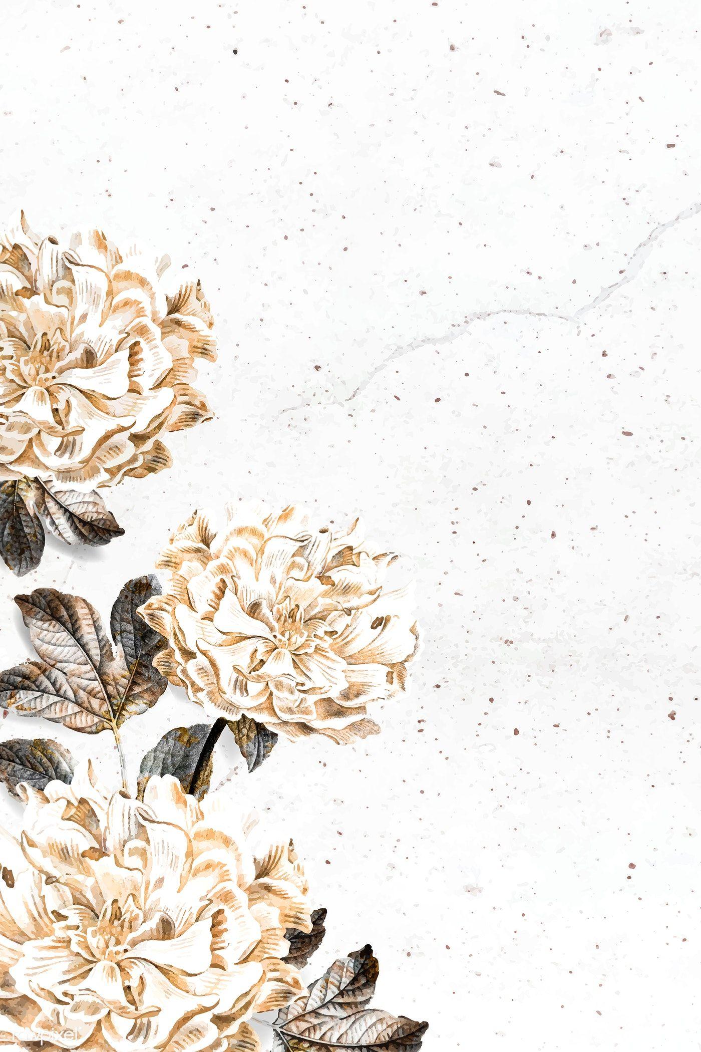 Download Premium Vector Of Floral Peony Frame Design Vector 1226614 Frame Design Flower Background Wallpaper Gold Wallpaper Background