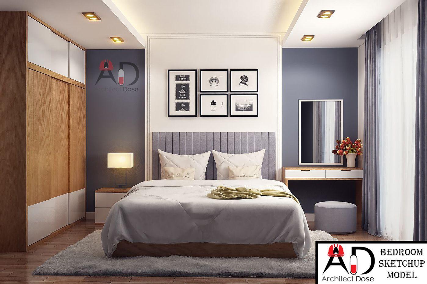 Bedroom Sketchup Model on Behance | Modern bedroom ...