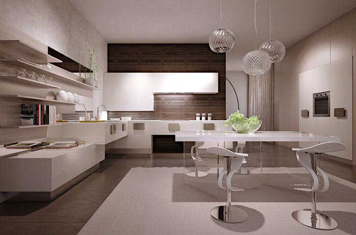 Modello solobianco cucina in polimerico bianco lucido e for Cucine design lusso