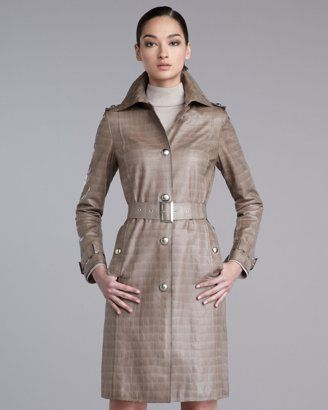 St. John Croc-Stamped Leather Trenchcoat