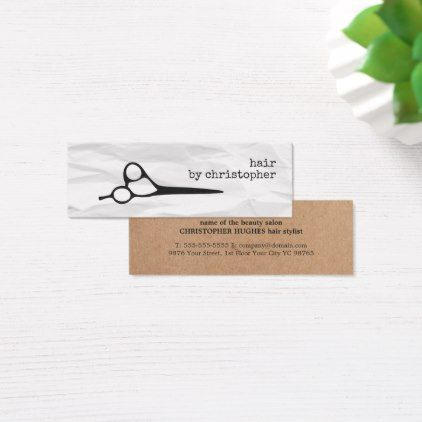 Modern Texture White Faux Kraft Paper Hairstylist Mini Business - business card sample