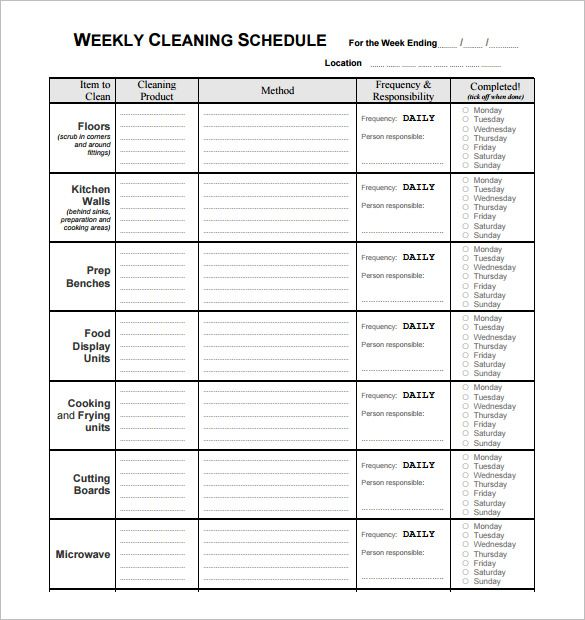 Restaurant Schedule Template 14 Free Sample Example Format