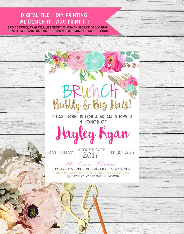 Brunch Bubbly Big Hat Bridal Shower Or Any Event Digital File