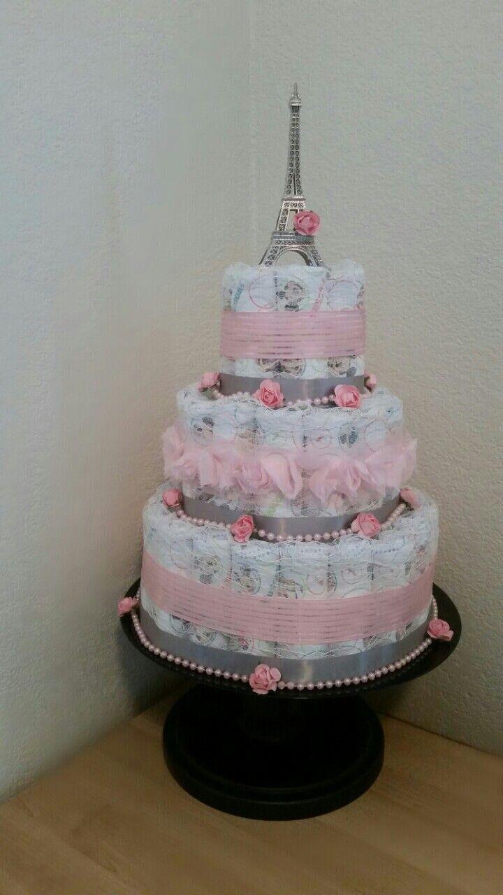 Paris Theme Diaper Cake Pink And Grey Follow Us On