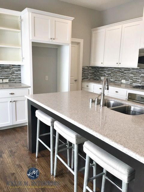 Paint Colour Review Sherwin Williams Repose Gray Sw 7015 Grey Kitchen Walls White Cabinets Grey Kitchen Walls Repose Gray