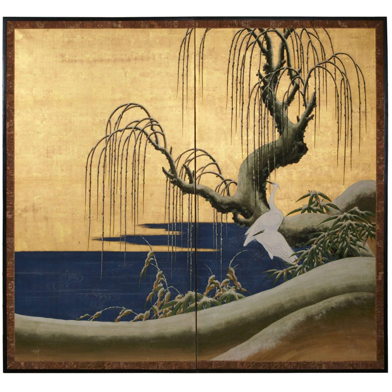 19th c. Two Panel Japanese Screen With Weeping Willow. | Painted ...