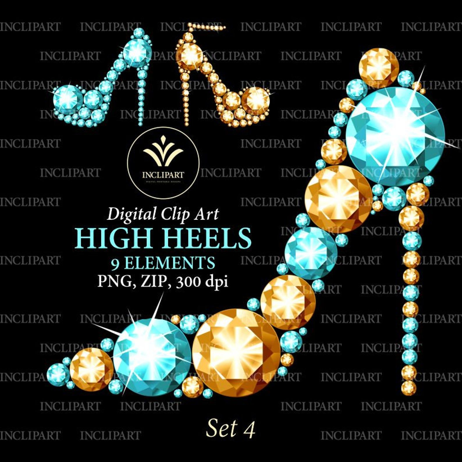 High Heel Shoes Clipart Png Format Gold Turquoise Diamond Etsy Shoes Clipart Clip Art Glitter Overlays
