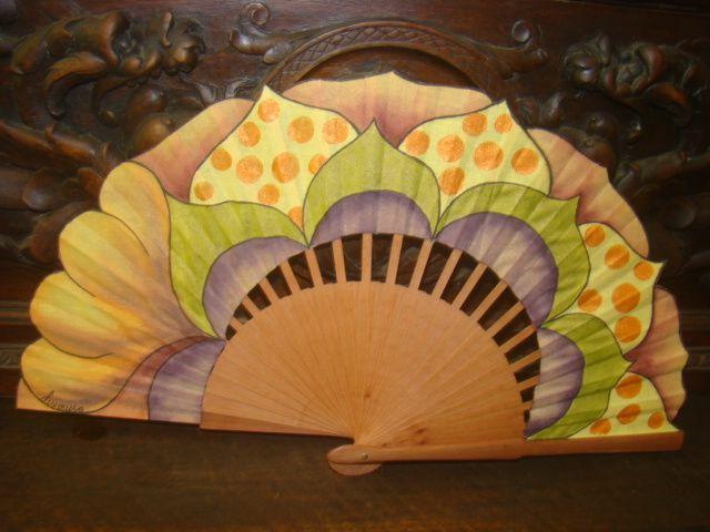 Abanicos pintados a mano artesan a y complementos dise os - Como pintar abanicos ...