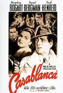 *CASABLANCA, (1942): Set in unoccupied Africa During the early days of World War II: An American expariate meets a former lover, w/ unforeseen complications. Starring: Humphrey Bogart, Ingrid Bergman, Paul Henreid.