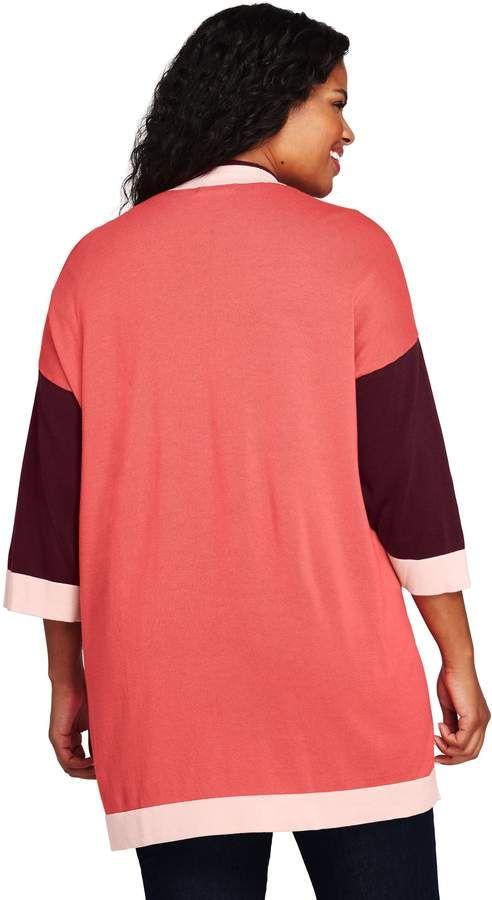 e40a550f3c40e Lands  End Lands end Women s Plus Size Cotton 3 4 Sleeve Open Cardigan  Sweater  Size Cotton Lands