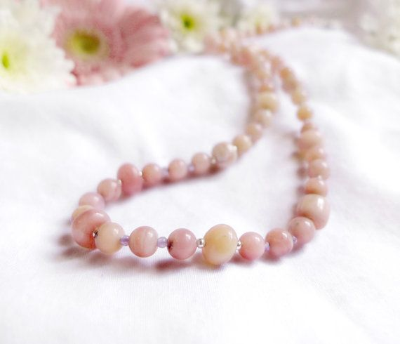 Peruvian pink opal necklace with amethyst and 925 sterling silver *Free worldwide shipping*