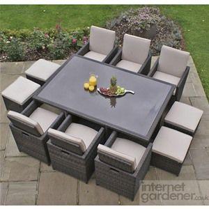 Maze rattan 7 piece cube set with 6 foot stools home - Outdoor interiors 7 piece patio set ...