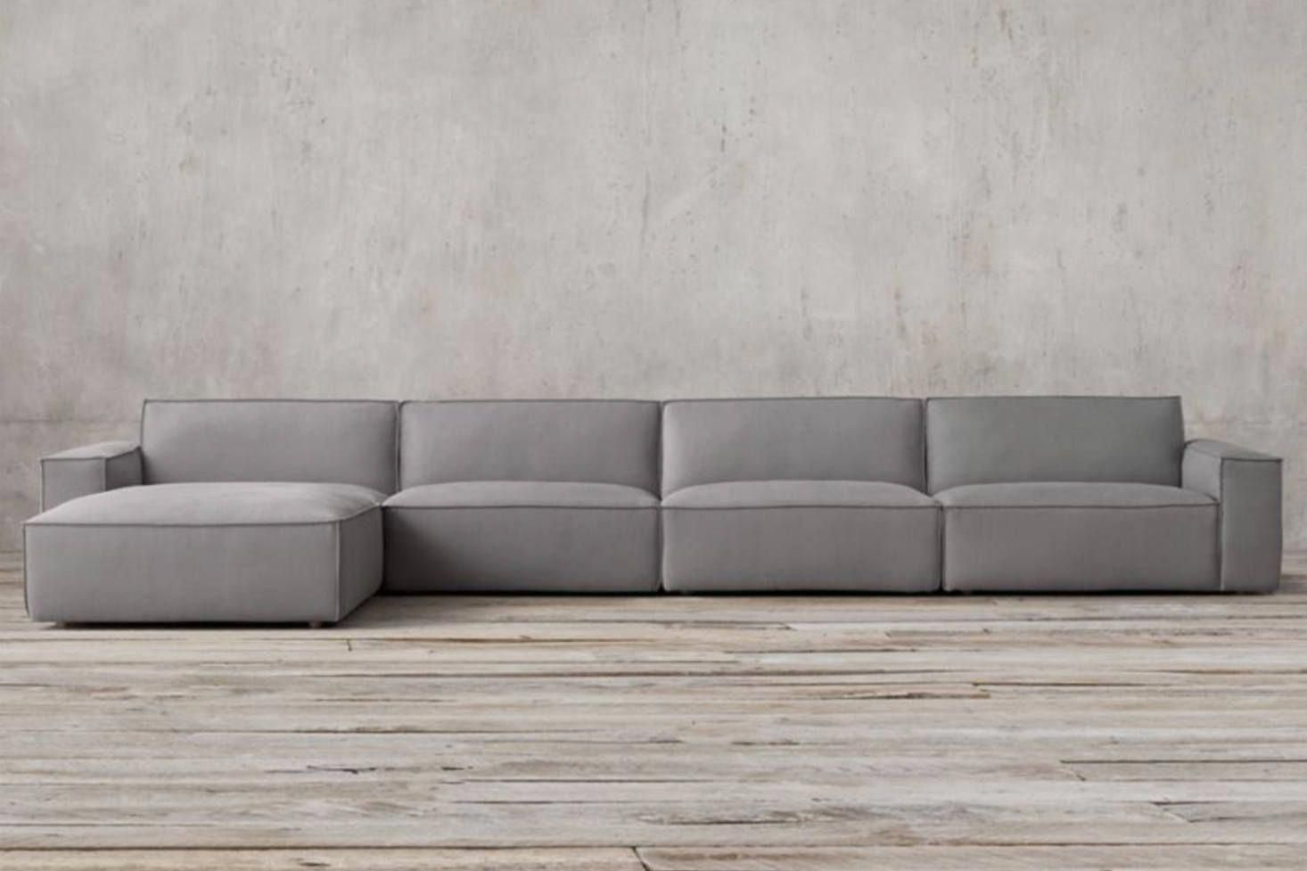 Even restoration hardware jumped on the clunky modular sofa bandwagon with their como modular sofa sectional its possible via its components to fully