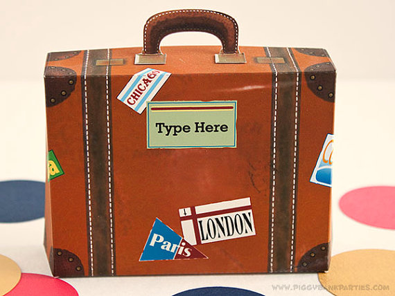 Vintage Suitcase Favor Box (Large with Green Label): DIY Printable ...