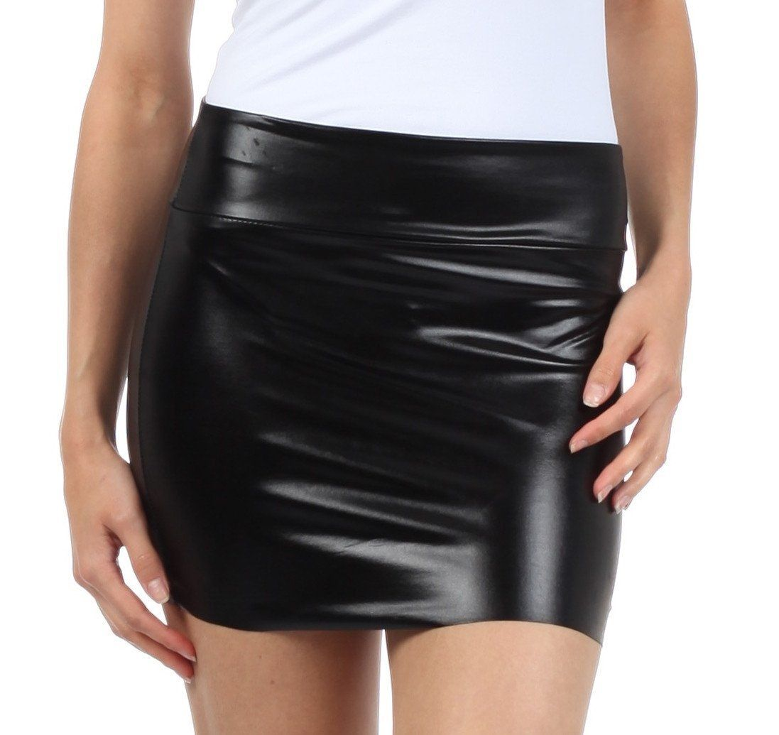 Women Bodycon Fit PVC Panel Faux Leather Wetlook Front Metal Zip Up Mini Skirt