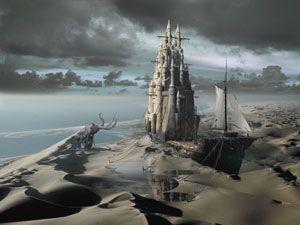 The Sand Castle - 3d modern surrealism prints digital art picture wallpaper