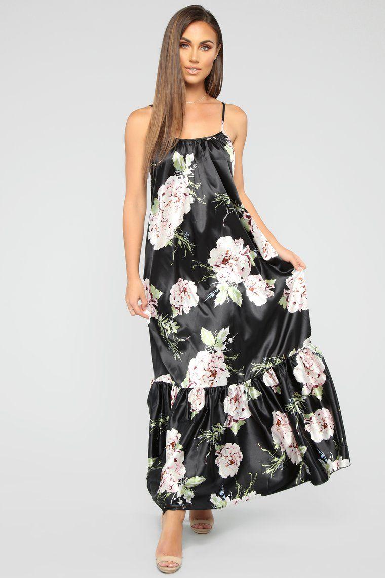 Simply Stunning Satin Maxi Dress Black/Floral Satin