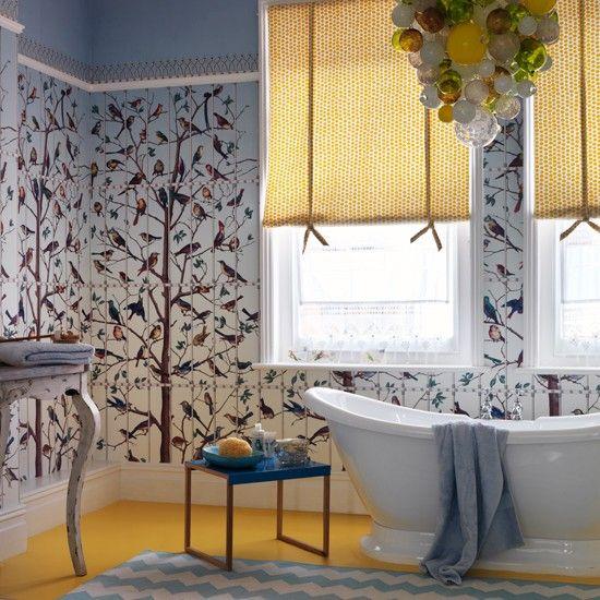 Attractive Bathroom With Bird Wallpaper And Yellow Flooring | Traditional Bathroom  Design Ideas | Housetohome.co