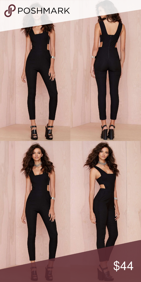 5eb158e97d09 Nasty Gal Black With The Band Cutout Jumpsuit We re all about the jumpsuit  life. This black beauty has cutouts at sides