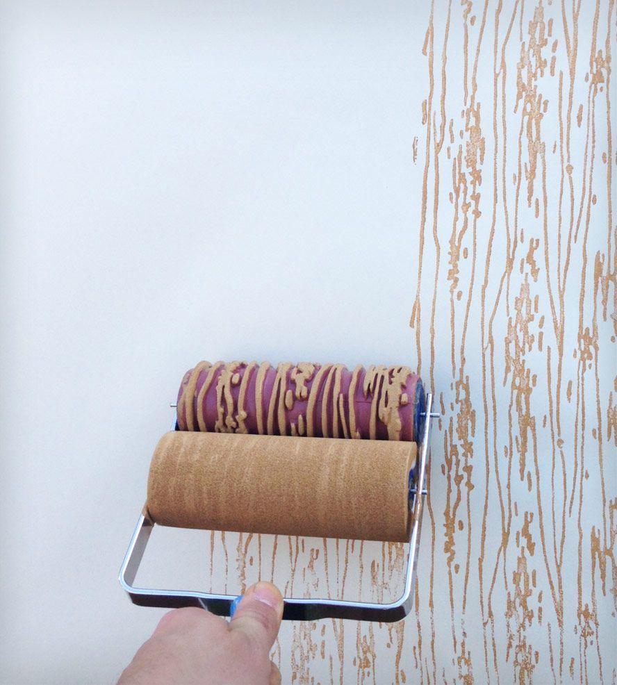Wood Grain Design Patterned Paint Roller | Patterned paint rollers ...