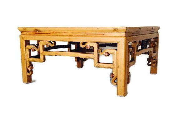 Vintage Wood Coffee Table Carved Tibetan Style Ornate By Studio180
