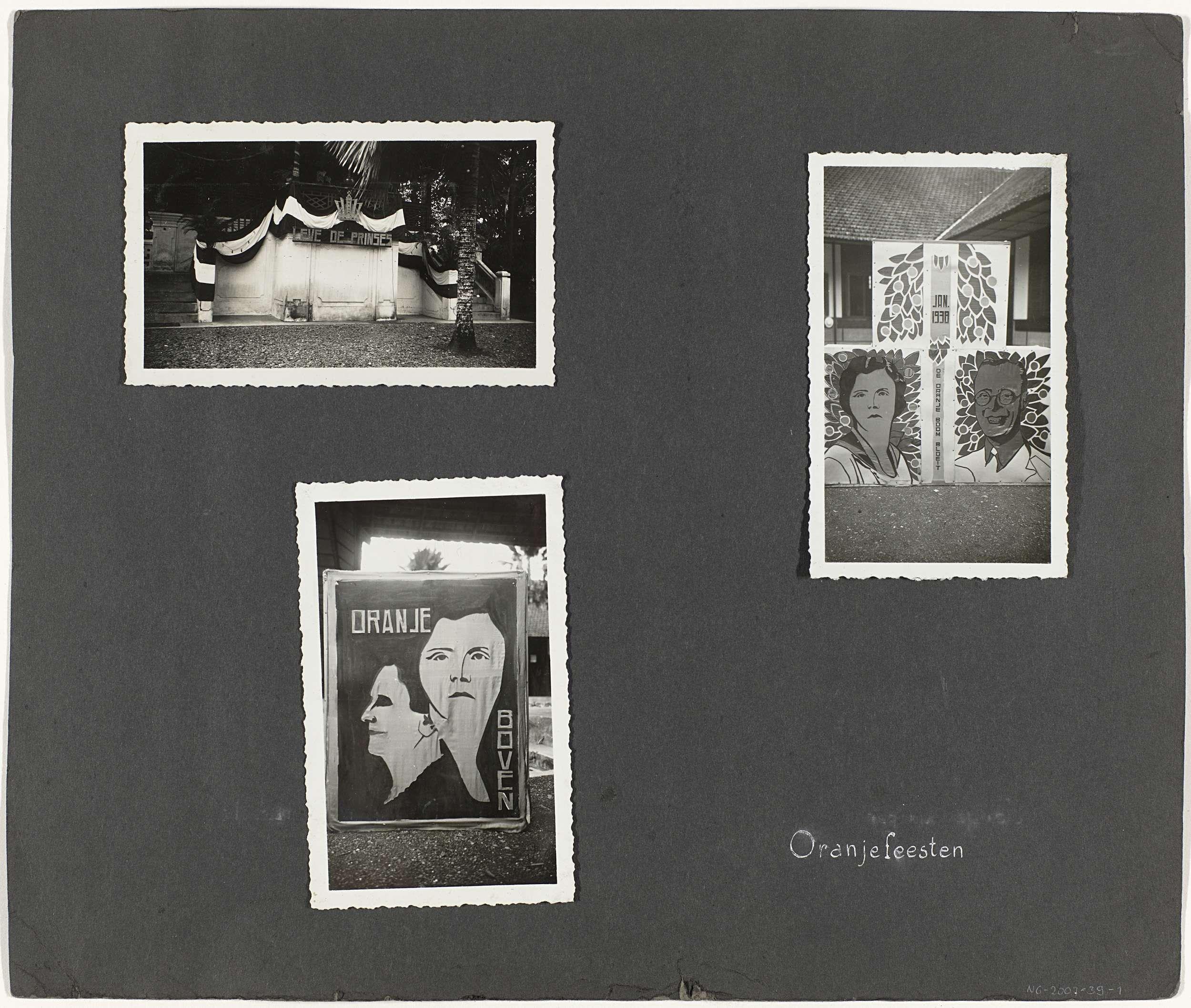 Anonymous | Oranjefeesten, Anonymous, 1938 | Albumblad met drie foto's van versieringen voor een Oranjefeest ter gelegenheid van de geboorte van prinses Beatrix op 31 januari 1938. Onderdeel van het losbladig fotoalbum over de Fraters van Tilburg op Celebes en Sumatra.