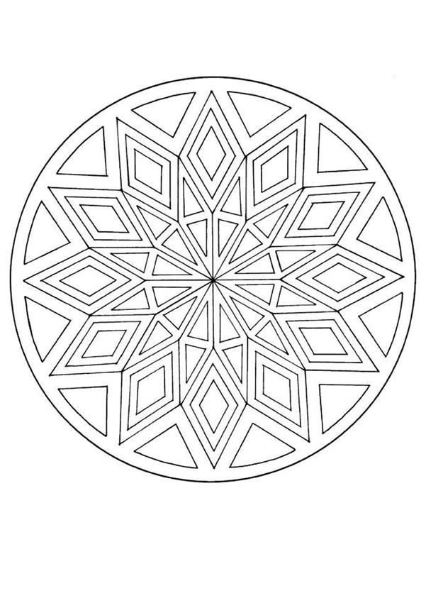 Mandalas For Advanced Mandala With A Diamond Pattern Mandala Coloring Pages Mandala Coloring Geometric Mandala