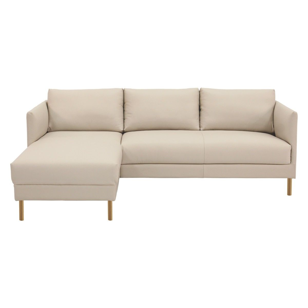 Attractive HYDE Cream Leather Left Arm Chaise Sofa, Wooden Legs