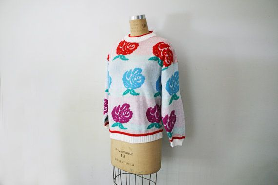 vintage 80s Super Ugly Roses Flowers Knit Acrylic Sweater $18.00 by littleveggievintage