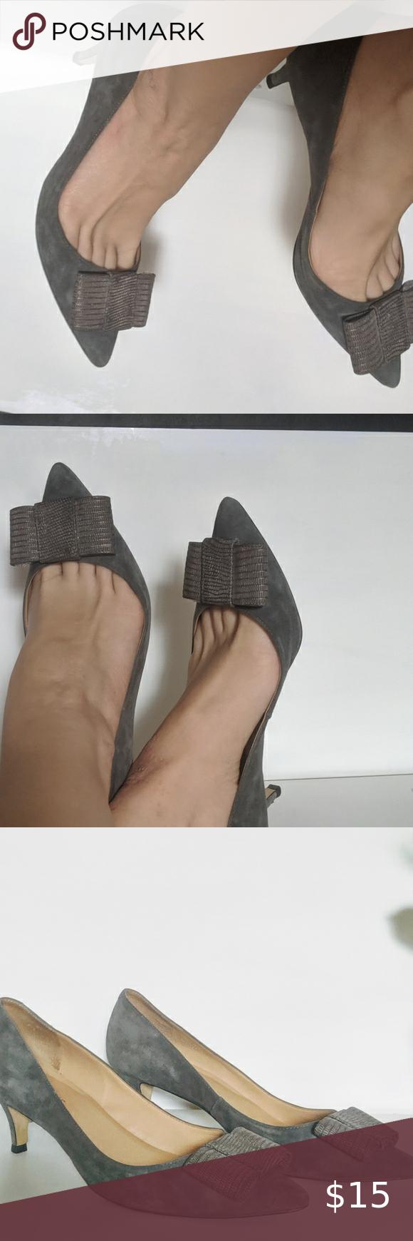 Gray suede kitten heels 8.5 (wide) in