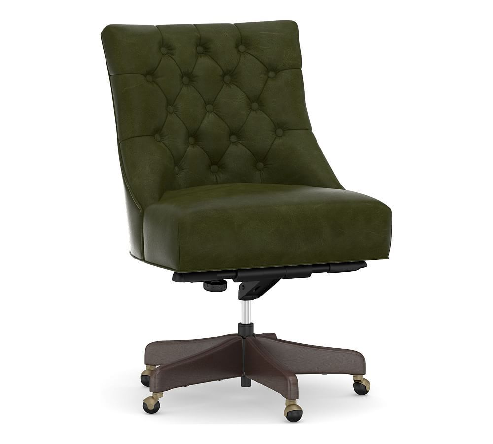 Hayes leather tufted swivel desk chair with gray wash
