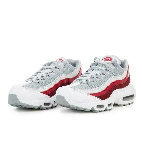 nike air max 95 essential white wolf grey & team red
