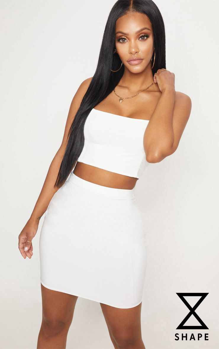 1c93bcc5131 Shape Ivory Slinky Mini Skirt in 2019