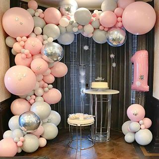 """For The ❤️of Parties on Instagram: """"Pink and gray winter wonderland!"""