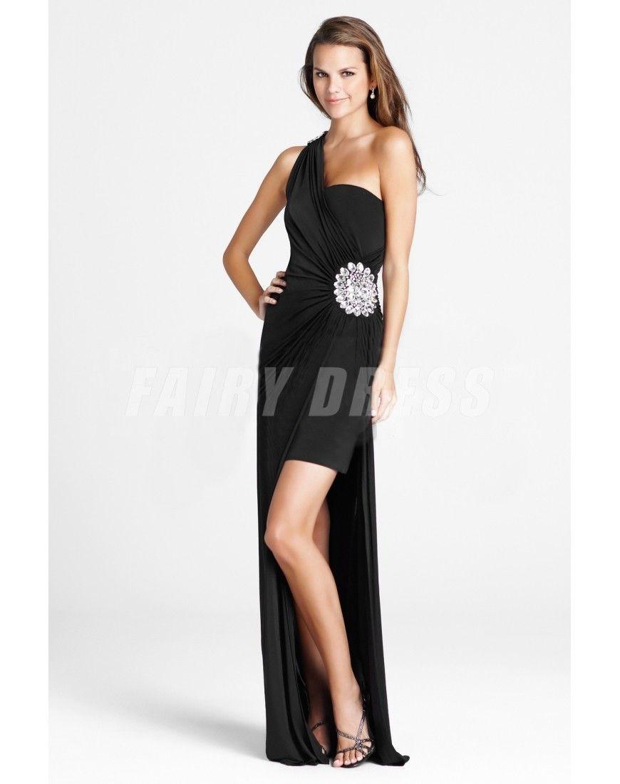 Robe de cocktailde bal détachable en jersey enveloppe noire à seule