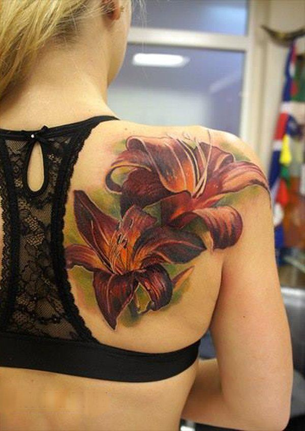 Realistic lily Tattoo on back by Andrey Grimmy - 55+ Awesome Lily Tattoo Designs <3 <3