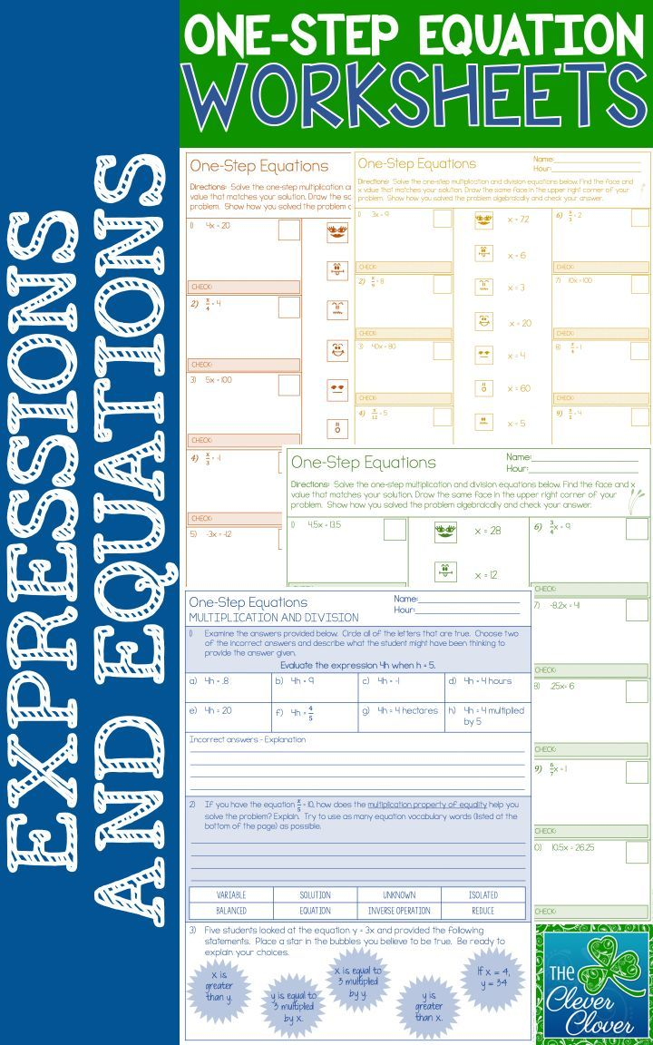Worksheets One Step Equation Worksheet one step equation worksheets tpt math lessons pinterest differentiated this resource can be used for practice with equations involving multiplication a