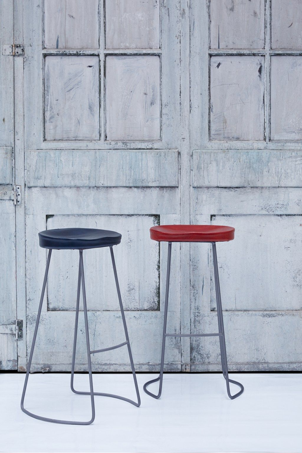 Red Roger Bar Stool Leather Seat Furniture French Connection